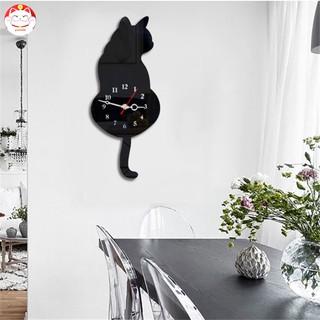 Đồng hồ treo tường hình chú mèo đen trắng sáng tạo