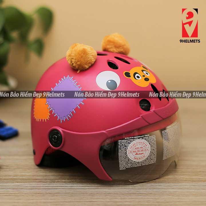 Mũ Bảo Hiểm Trẻ Em Có Kính Hình Gấu Xanh Lá