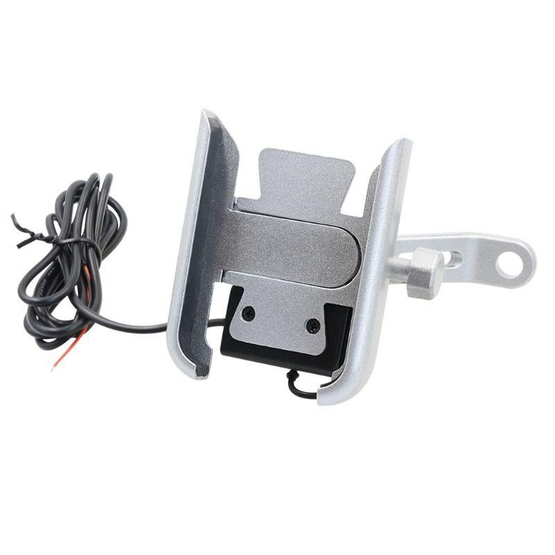Giá đỡ điện thoại gắn xe máy bằng kim loại có cổng sạc USB