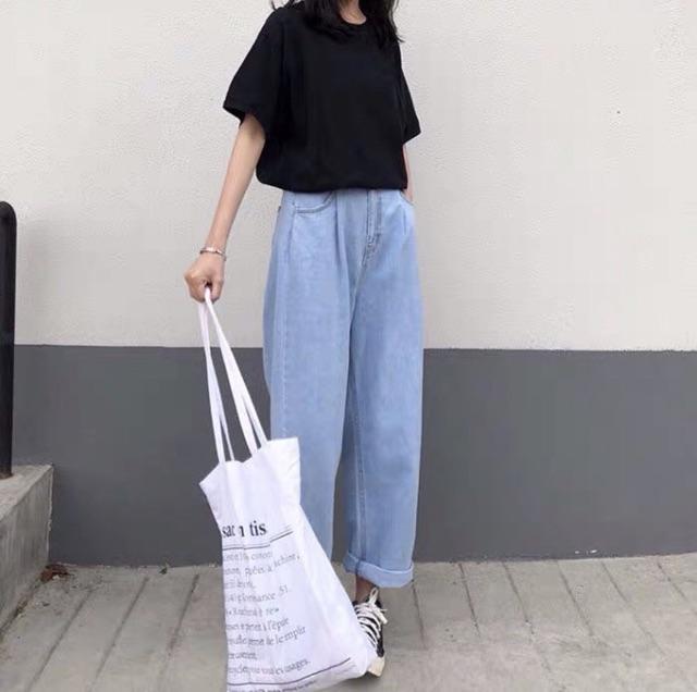 Quần Jeans Nữ Simple Jeans Lưng Cao Dáng Suông Ống Rộng Ulzzang ( Màu Nhạt )