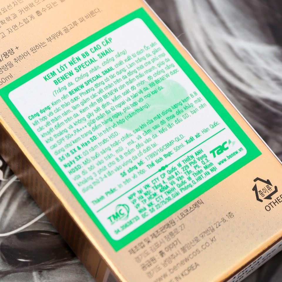 Kem nền BB siêu mịn lâu trôi dưỡng trắng Special Snail Benew Hàn Quốc SS11