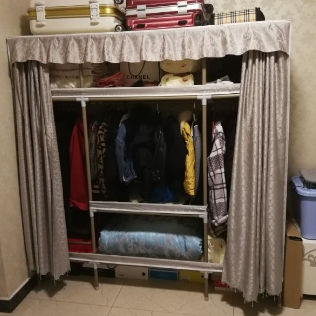 Tủ Vải Đựng Quần Áo loại 3 buồng đựng quần áo tủ khung thép siêu bền 1m3 , 1m7 Cực Kỳ Chắc Chắn