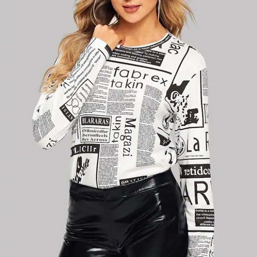 🍀[COD+Ready Stock]Fall Women Newspaper Print Turtleneck O-Neck Long Sleeve Casual Bottoming Tops