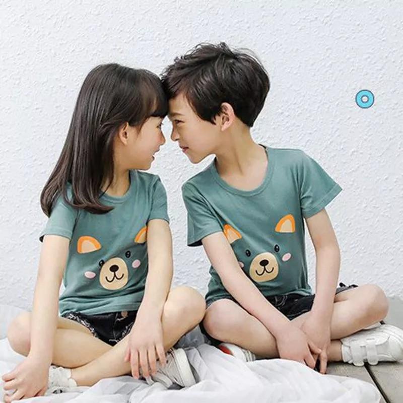 Áo thun tay ngắn in hình gấu dễ thương cho bé trai