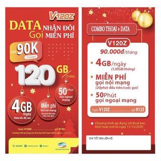 {FREE 30 NGÀY}Sim 4G Viettel gói V90 mới {V120Z} 120GB/Tháng {4GB/Ngày} miễn phí gọi nội mạng, 90K/Tháng