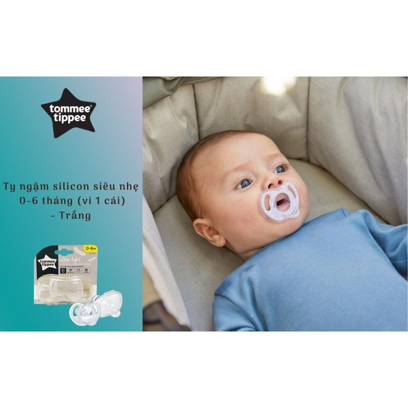 Ty ngậm silicon siêu nhẹ cho bé Tommee Tippee 0-6 tháng (vỉ 1 cái) - Trắng