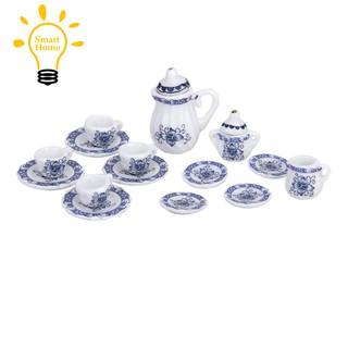 →♣15 Stueck Miniatur Puppenhaus Ess Porzellan Tee Set Geschirr