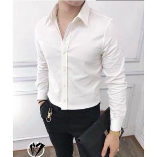 Áo sơ mi nam màu trắng, đen, trơn dài tay chất cotton mềm mịn