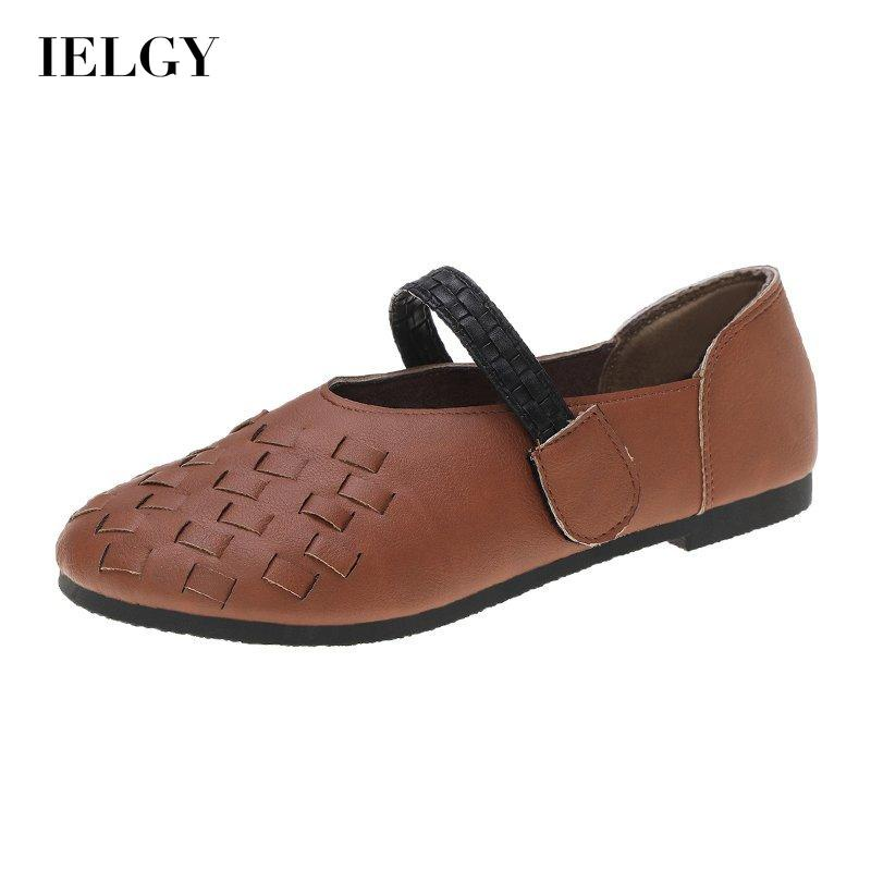 IELGY one-line belt soft sole Literature and art retro forest style large size single shoes big toe casual women's shoes shallow mouth all-match trendy