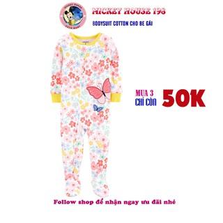 [Chọn mẫu] Body sleepsuit liền tất cho bé gái cotton rất tốt cho trẻ