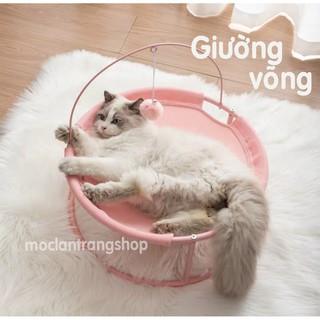 Giường đệm võng HOOPET cỡ lớn cho mèo và cún cưng. Giường nôi khung sắt tròn oval thoáng khí. Ổ mèo thumbnail