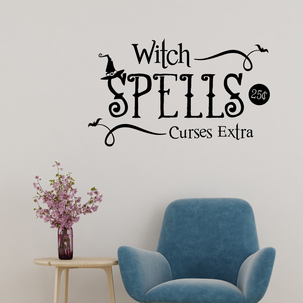 Hallowmas ''WITCH SPELLS'' Red/Black Letter Waterproof Wall Sticker Decal Mural