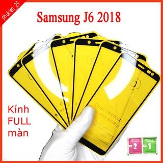 Kính cường lực Samsung J6 2018 full màn hình, Ảnh thực shop tự chụp, tặng kèm bộ giấy lau kính taiyoshop2 thumbnail