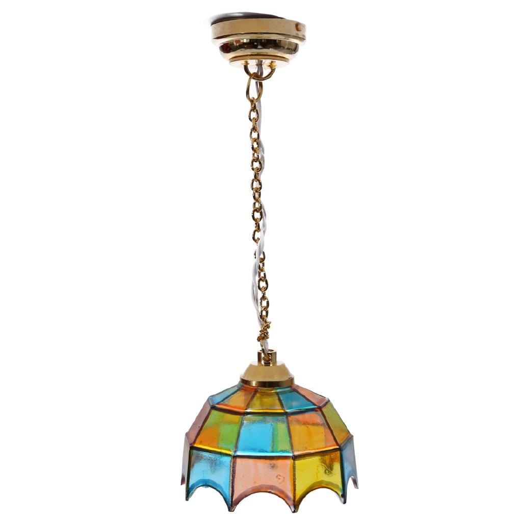 HW Tiffany Style Stained Glass Hanging Lamp Mini Ceiling Pendant Fixture