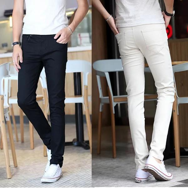 quần jean nam trắng đen co giãn (tặng kèm khẩu trang su 3D) phong cánh cá tính