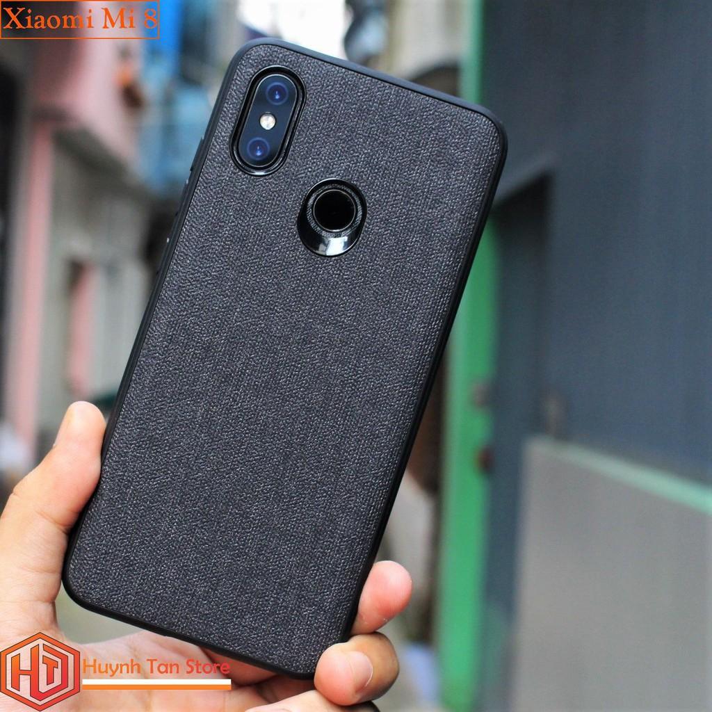 Ốp lưng Xiaomi Mi 8 vân vải jean (màu đen)