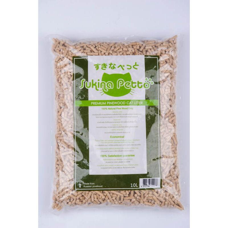 Sukina Petto ทรายแมวเปลือกไม้สนธรรมชาติ 100% 10 ลิตร