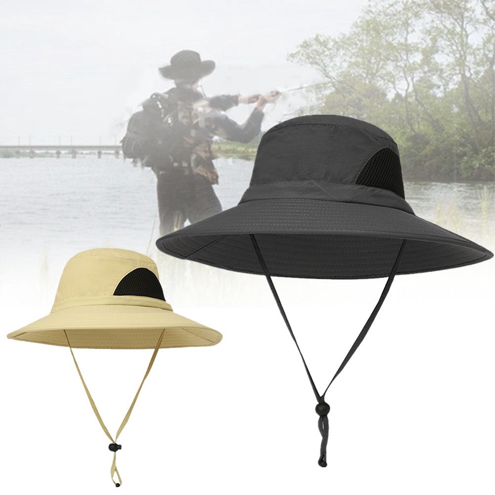 With Adjustable Strap Foldable Mesh Crown Summer Breathable Outdoor Bucket Hat Fishing UV Protection Waterproof Men