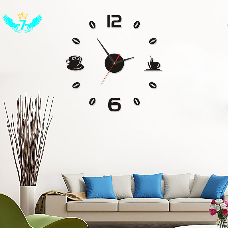 Đồng hồ dán tường in số và cốc trà cà phê sáng tạo
