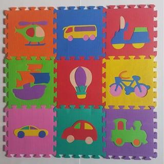 Bộ 10 tấm Thảm xốp lót sàn cho bé hình phương tiện giao thông (30x30cm)