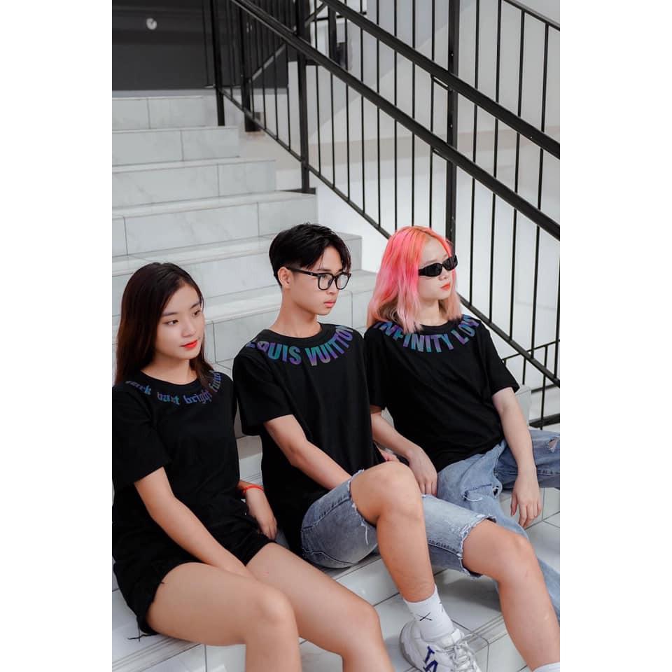 Áo thun tay lỡ Unisex Chữ Luôn Vui Tươi Phản Quang nam nữ Hai Màu Trắng Đen Siêu Chất - áo phông rộng tay lỡ