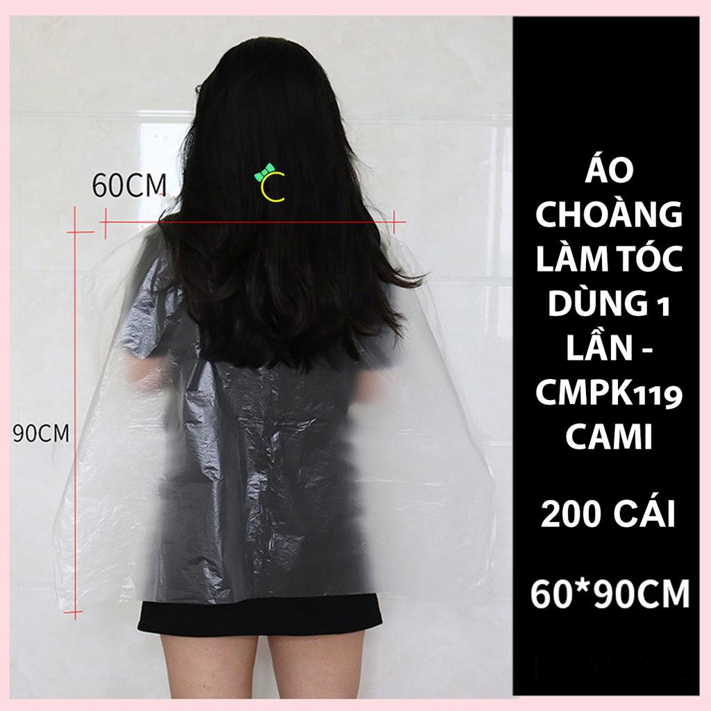 Túi 200 cái áo choàng nylon PE dùng 1 lần để uốn duỗi nhuộm tóc kích thước 60 x 90cm - CMPK119 - Cami