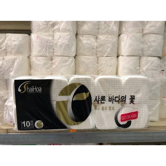 Khách sỉ 10 cuộn giấy vệ sinh Hải Hoa Đen không lõi mềm mịn