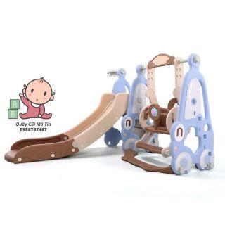 Cầu trượt xích đu nhựa nguyên sinh 3in1 An toàn cho bé yêu ( Cầu tuột / cầu tụt )