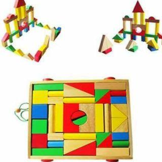 Đồ chơi gỗ xếp hình khối xây dựng 5 màu loại đẹp nhất