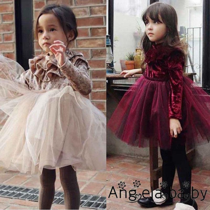 Đầm xòe công chúa vải lông cừu phối voan lưới dễ thương cho bé gái