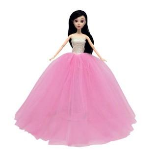 Búp Bê Cô Dâu 12 Khớp Xinh Đẹp Váy Đầm Hồng ( Tặng Phụ Kiện 8 Món + 3 Váy Ngắn + Mạng Che Mặt Cô Dâu)