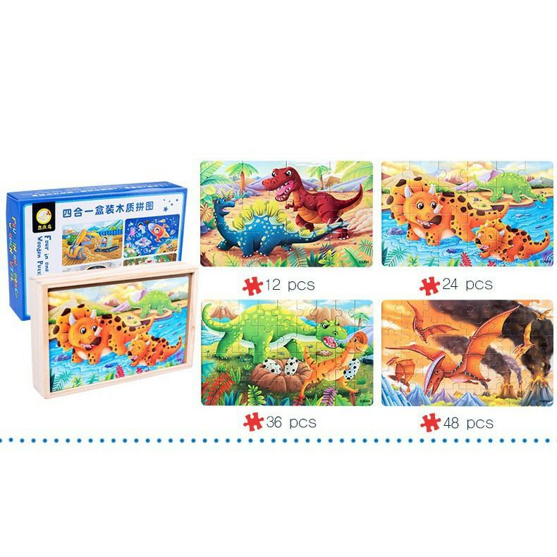 [Giá Rẻ ] Ghép Hình Puzzle Tổng hợp 04 tranh 12 - 24 - 36 - 48 mảnh hộp gỗ