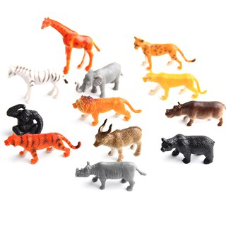 12pcs Plastic Zoo Animal Figure Model Kids Toy Set