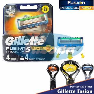 Hộp 4 lưỡi dao cạo râu Gillette Fusion Proglide Power (đầu cạo 5 lưỡi kép)