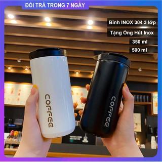 Bình Giữ Nhiệt Coffee Ly Giữ Nhiệt Cafe Thép Không Gỉ 350ml/500ml Tặng Ống Hút Inox Bình Đựng Nước Giữ Nhiệt Inox304