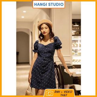 Váy chấm bi xanh đen bọc nút KÈM ẢNH THẬT hàng sẵn giao ngay, rất là xinh luôn thumbnail