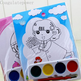 Coagulatepower DIY Watercolor Painting Children Drawing Toy 4 Colors Painting Set Educational