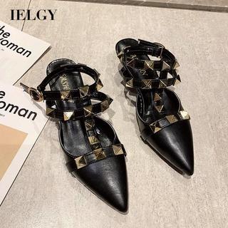 IELGY Rivet black back Baotou Roman wind fairy style high heel sandals female pointed stiletto