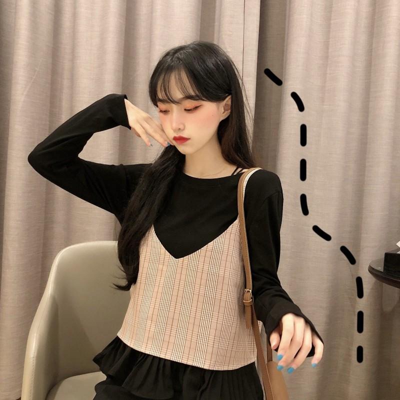 Yangqi ย่อหน้าสั้น ๆ ในฤดูใบไม้ร่วงปี 2019 ใหม่หญิงเสื้อเกาหลี + เสื้อยืดเสื้อกล้ามแฟชั่นตาข่ายสีแดงชุดสองชิ้น