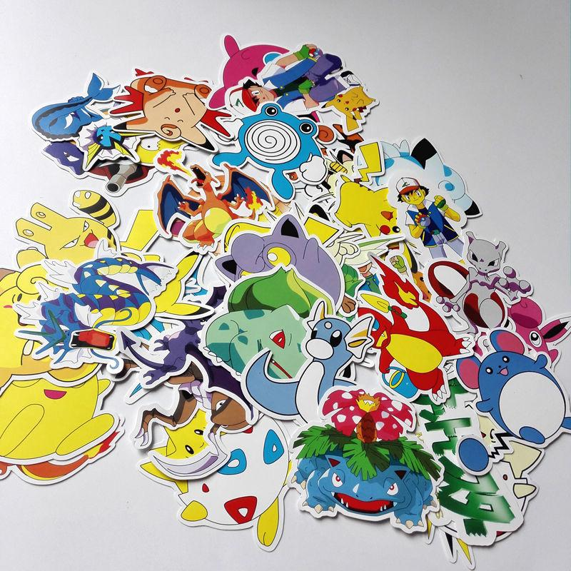 60pcs Pokemon go Pikachu Cartoon Stickers Skateboard Luggage Car Sticker Kids