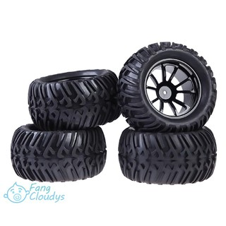 FANC★New 4PCS Wheel Rim & Tires For HSP 1:10 Monster Truck RC Car 12mm Hub