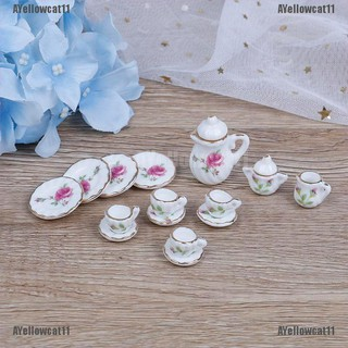 AYellowcat 15Pcs 1:12 Dollhouse miniature tableware porcelain ceramic coffee tea cups set