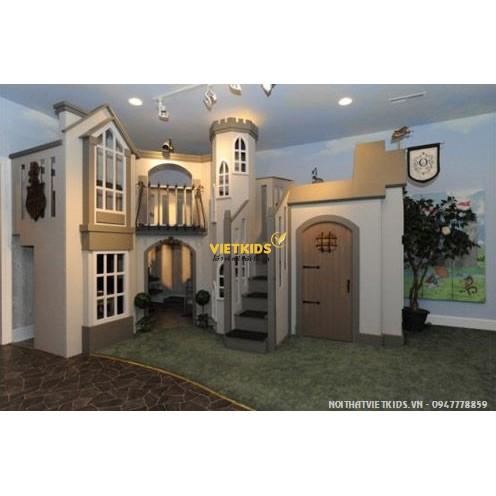 Giường tầng lâu đài cho bé gái công chúa