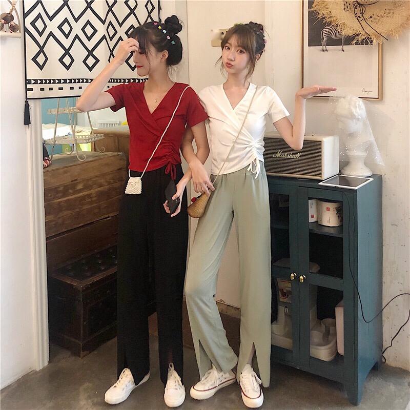 set áo thun tay ngắn cổ chữ v+quần dài lưng cao phong cách hàn quốc thời trang cho nữ - 14737512 , 2413451723 , 322_2413451723 , 290400 , set-ao-thun-tay-ngan-co-chu-vquan-dai-lung-cao-phong-cach-han-quoc-thoi-trang-cho-nu-322_2413451723 , shopee.vn , set áo thun tay ngắn cổ chữ v+quần dài lưng cao phong cách hàn quốc thời trang cho nữ