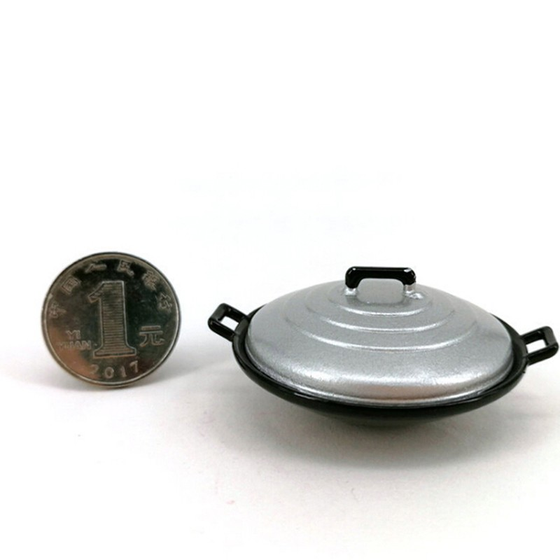 Coagulatepower 2Pcs/set 1:12 dollhouse miniature kitchen cooking wok pot cover furniture toys