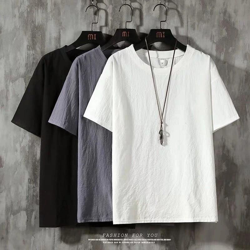 ⚜Áo Khoác Thời Trang Cá Tính Cho Nam⚜Áo Thun cotton Lanh Mỏng Tay Ngắn Dáng Rộng Màu Sắc retro Thời Trang Mùa Hè Cho Nam Giới