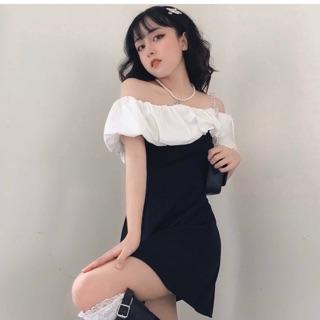Đầm đen xoè trễ vai phối trắng