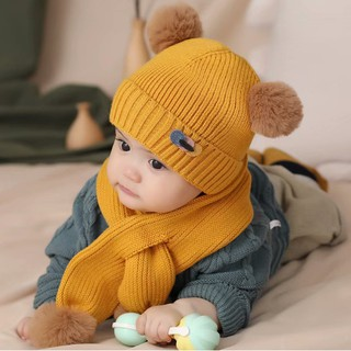 Set mũ kèm khăn len cho bé trai bé gái (từ 1-5 tuổi) VEMZKIDS