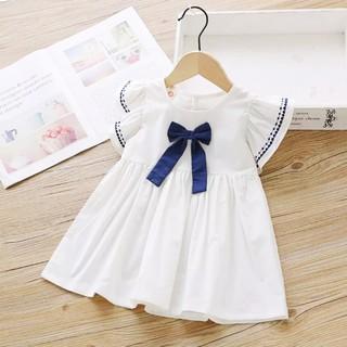 Đầm cotton cánh tiên dáng xòe phối nơ đáng yêu cho bé gái 3-8 tuổi BBShine– D032