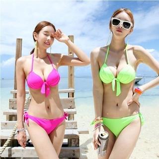 Hàn Quốc Huỳnh Quang Màu Sexy Bikini Đồ Bơi Nữ Dày Cup Ngực Thép Thu Thập Tam Giác Chia Đồ Bơi Nữ